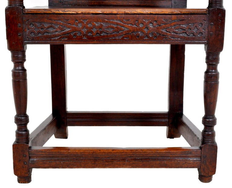 Antique 17th Century Charles II Yorkshire Carved Inlaid Oak Wainscot Chair, 1670 For Sale 1