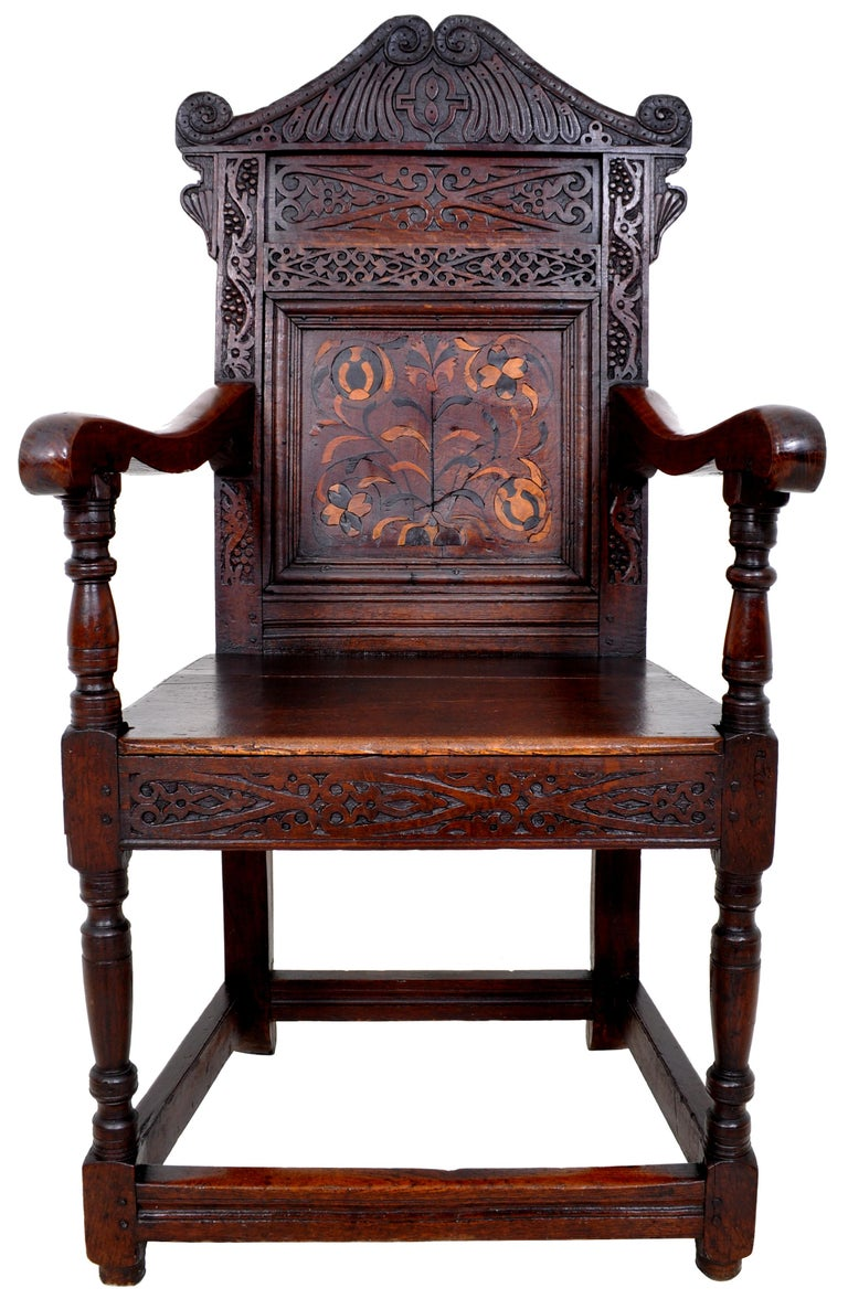 Antique 17th Century Charles II Yorkshire Carved Inlaid Oak Wainscot Chair, 1670 For Sale 2