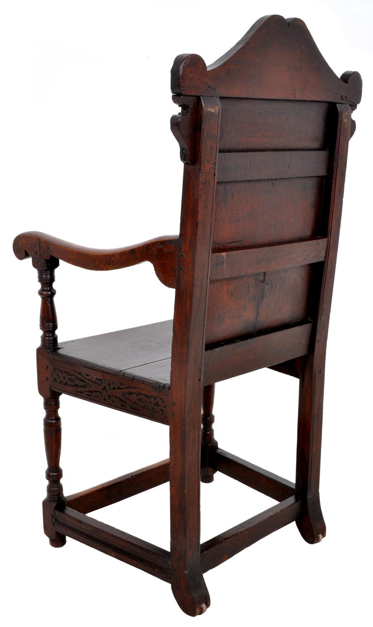 Antique 17th Century Charles II Yorkshire Carved Inlaid Oak Wainscot Chair, 1670 For Sale 3