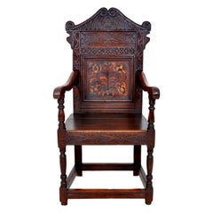 Antique 17th Century Charles II Yorkshire Carved Inlaid Oak Wainscot Chair, 1670