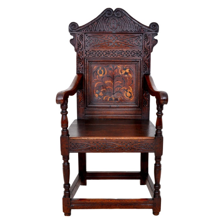 Antique 17th Century Charles II Yorkshire Carved Inlaid Oak Wainscot Chair, 1670 For Sale