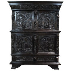 Antique 17th Century Dutch Black Oak Four Door Renaissance Cabinet