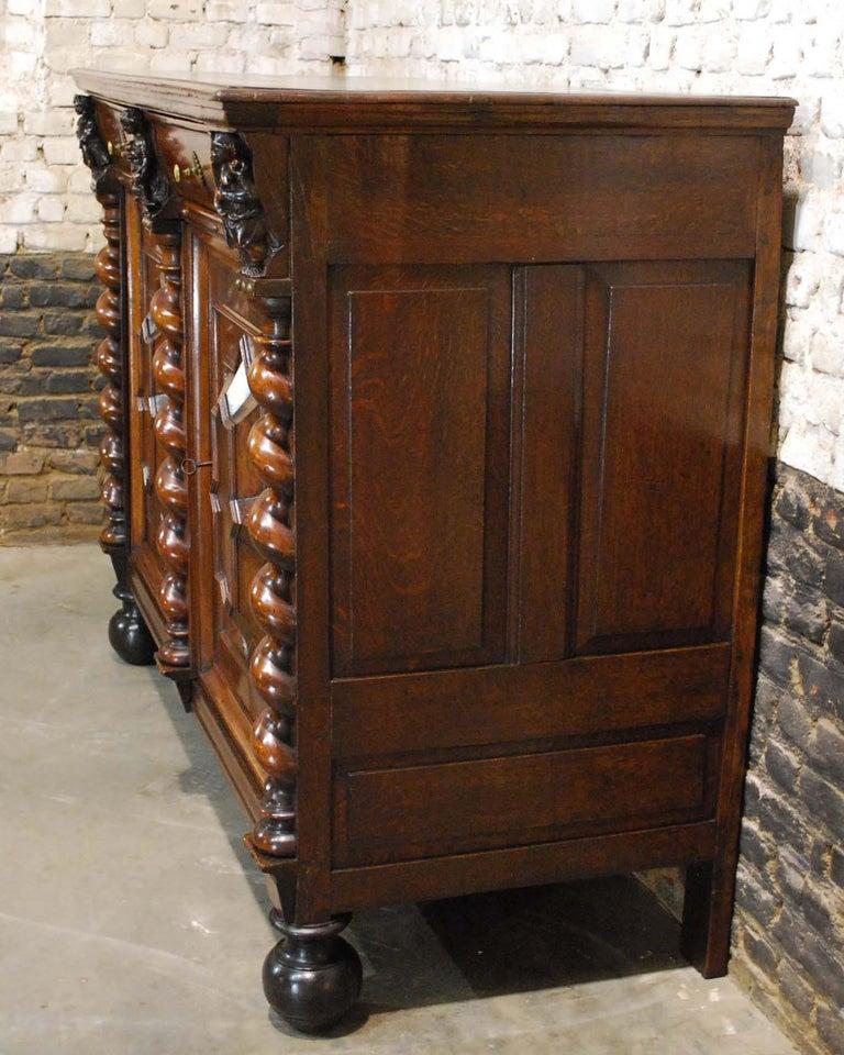 Adam Style Antique 17th Century Dutch Renaissance Dresser in Oak and Walnut For Sale