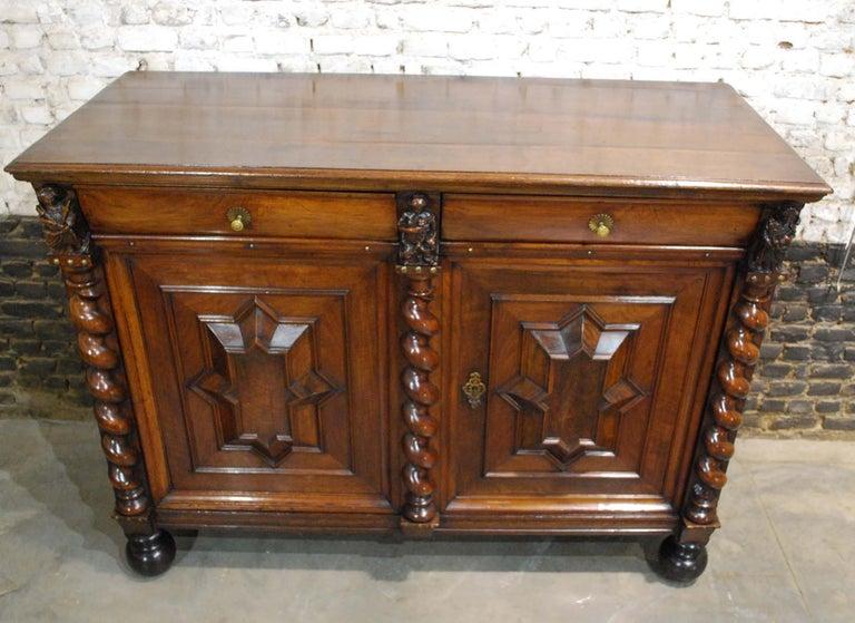 Veneer Antique 17th Century Dutch Renaissance Dresser in Oak and Walnut For Sale