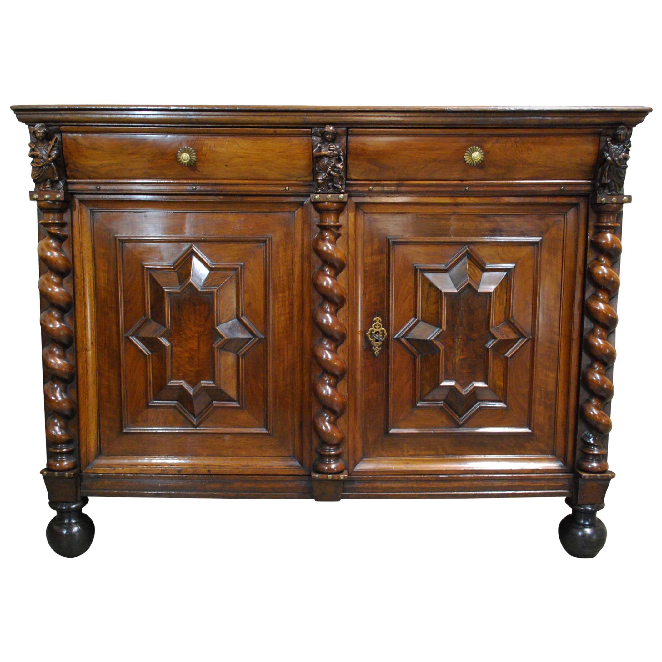 Antique 17th Century Dutch Renaissance Dresser in Oak and Walnut