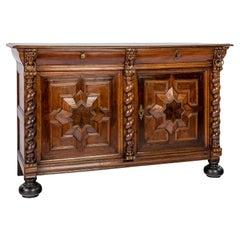 Antique 17th Century Dutch Renaissance Dresser of Buffet in Oak and Walnut