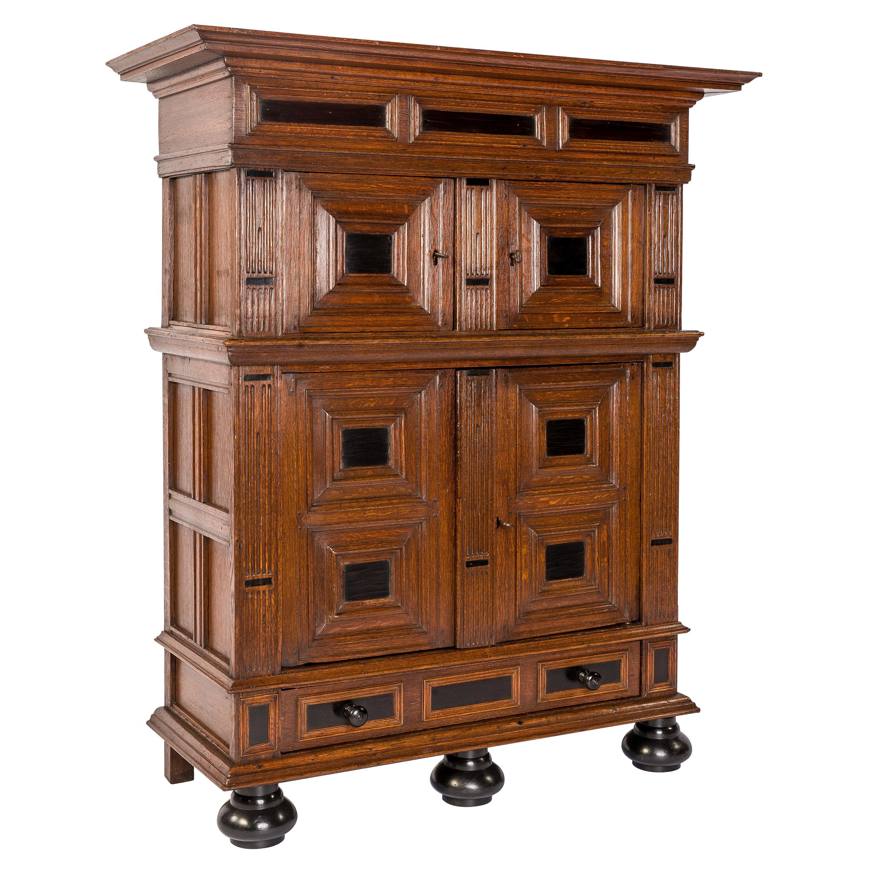 Antique 17th Century Dutch Renaissance Oak 4 Door Cabinet with Ebony Inlay