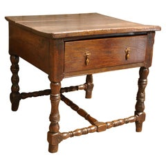 Antique 17th Century English Charles II Oak Occasional Hall Side Table in Oak