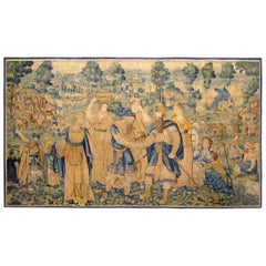 Antique 17th Century Flemish Game Park Biblical Tapestry, Featuring Jacob & Esau