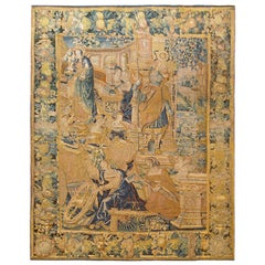 Antique 17th Century Flemish Tapestry with the Liberal Arts & Areas of Knowledge