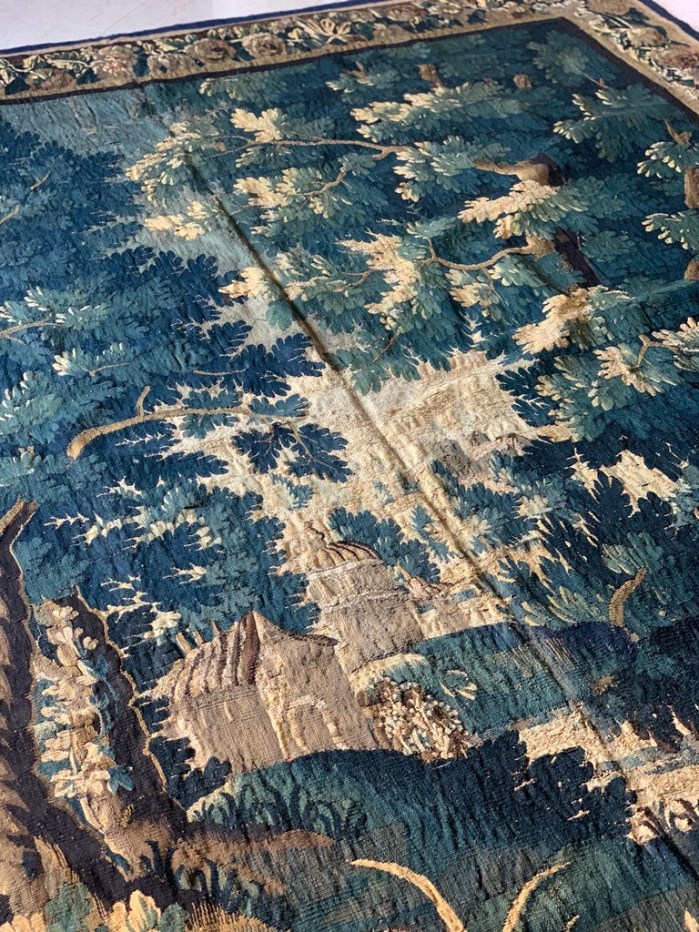 Baroque Antique 17th Century Flemish Verdure Landscape Tapestry For Sale