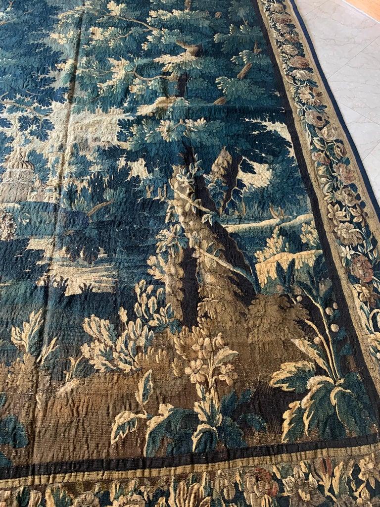 Belgian Antique 17th Century Flemish Verdure Landscape Tapestry For Sale