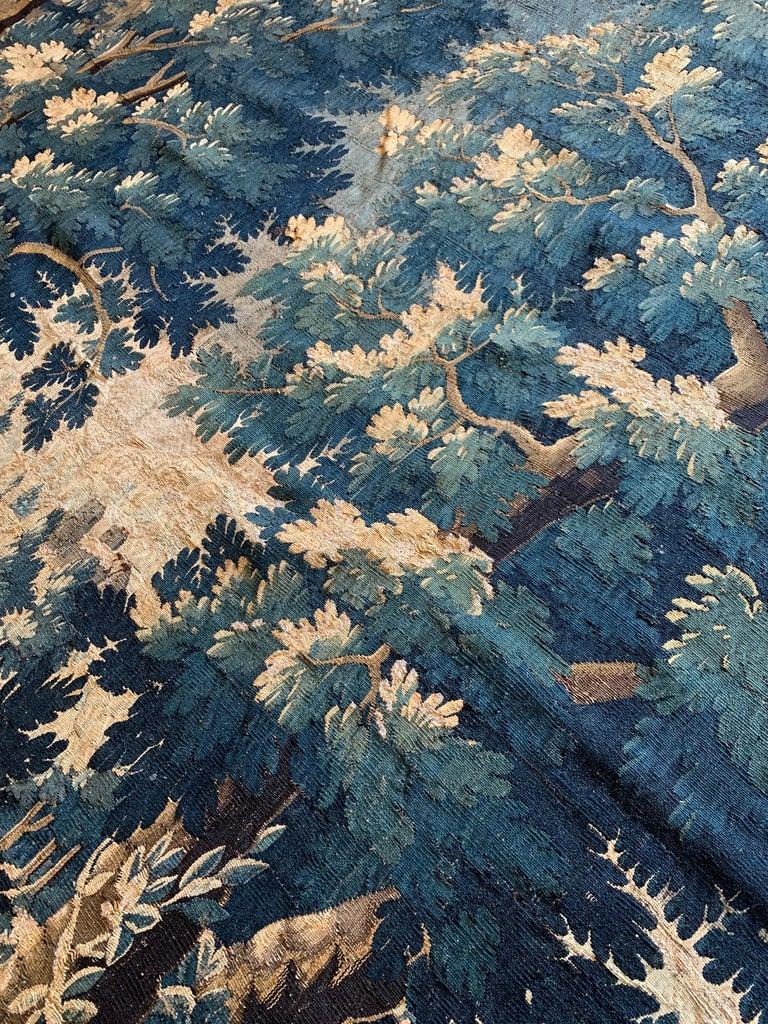 Hand-Woven Antique 17th Century Flemish Verdure Landscape Tapestry For Sale