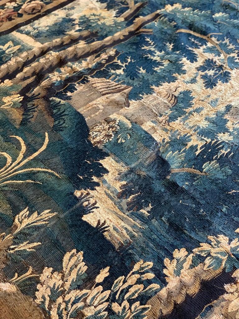 Wool Antique 17th Century Flemish Verdure Landscape Tapestry For Sale
