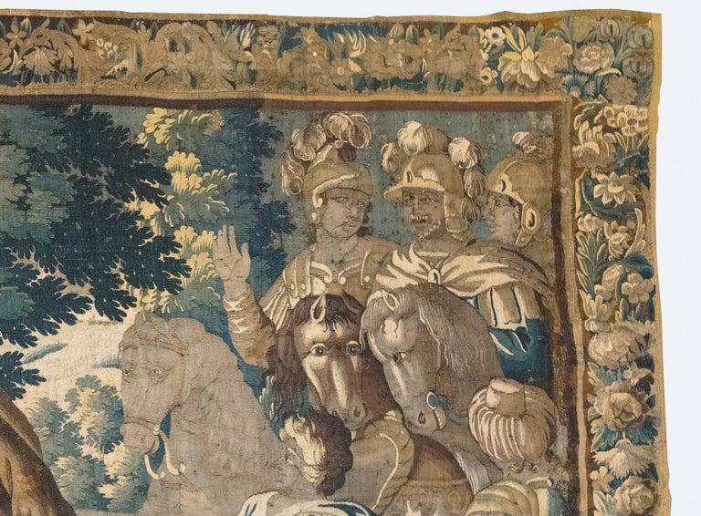 Baroque Antique 17th Century Flemish Verdure Tapestry Reconciliation of Jacob and Esau For Sale