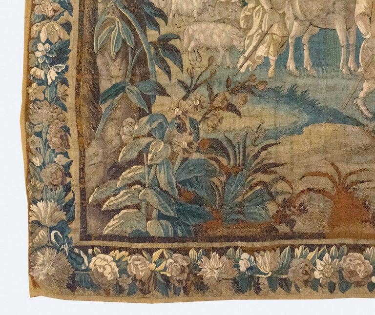 Belgian Antique 17th Century Flemish Verdure Tapestry Reconciliation of Jacob and Esau For Sale