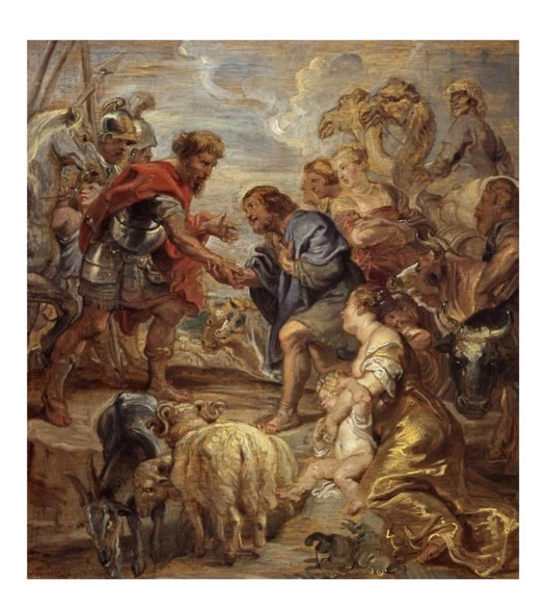 Wool Antique 17th Century Flemish Verdure Tapestry Reconciliation of Jacob and Esau For Sale