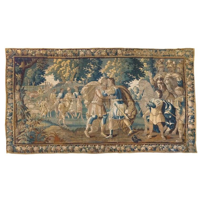 Antique 17th Century Flemish Verdure Tapestry Reconciliation of Jacob and Esau For Sale