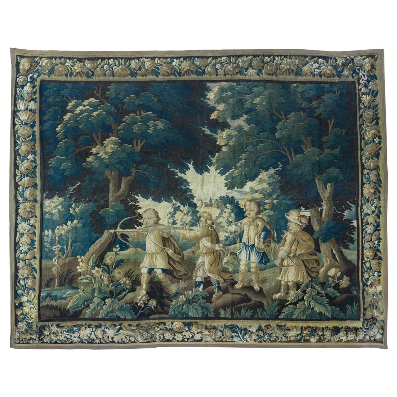 Antique 17th Century Flemish Verdure Tapestry with Children