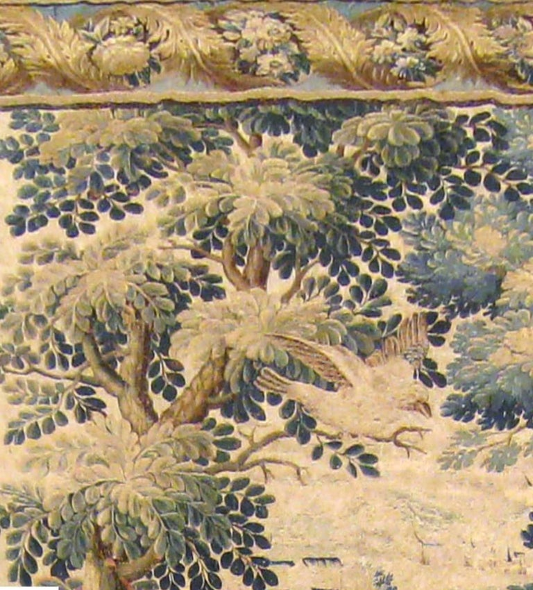 Belgian Antique 17th Century Flemish Verdure Tapestry, with Exotic Birds in a Landscape For Sale