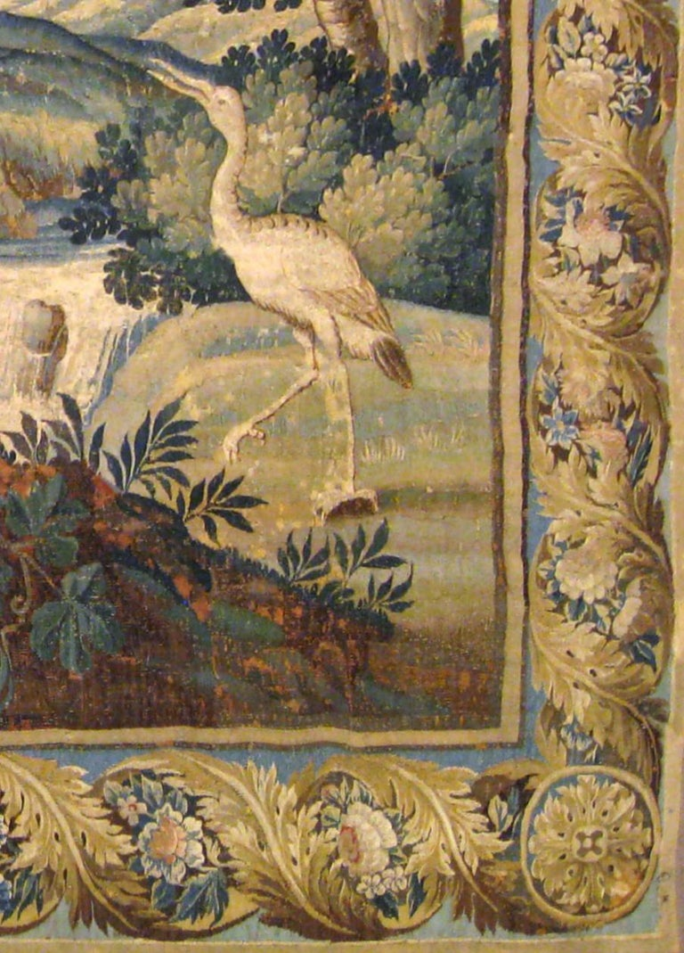 Hand-Woven Antique 17th Century Flemish Verdure Tapestry, with Exotic Birds in a Landscape For Sale