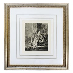 Antique 17th Century Framed Rembrandt Style Durand Christ before Pilate Etching
