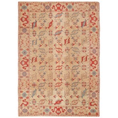 Antique 17th Century Inspired Design Transitional Yellow and Red Wool Rug
