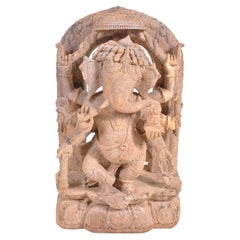 Antique 17th Century Nepalese Hindu Carved Sandstone Temple Ganesh Statue/ Stele