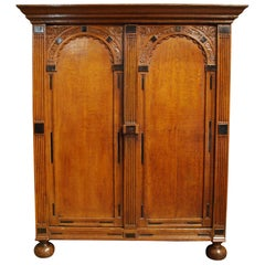Antique 17th Century Oak and Ebony Two-Door Renaissance Cabinet