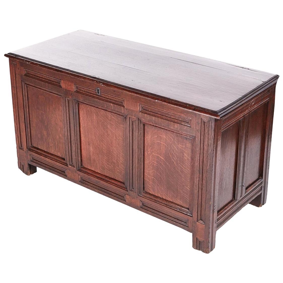 Antique 17th Century Paneled Oak Coffer