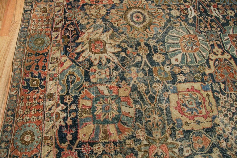 Kirman Antique 17th Century Persian Vase Kerman Carpet. Size: 11 ft 5 in x 20 ft 2 in  For Sale