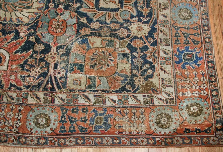 Hand-Knotted Antique 17th Century Persian Vase Kerman Carpet. Size: 11 ft 5 in x 20 ft 2 in  For Sale