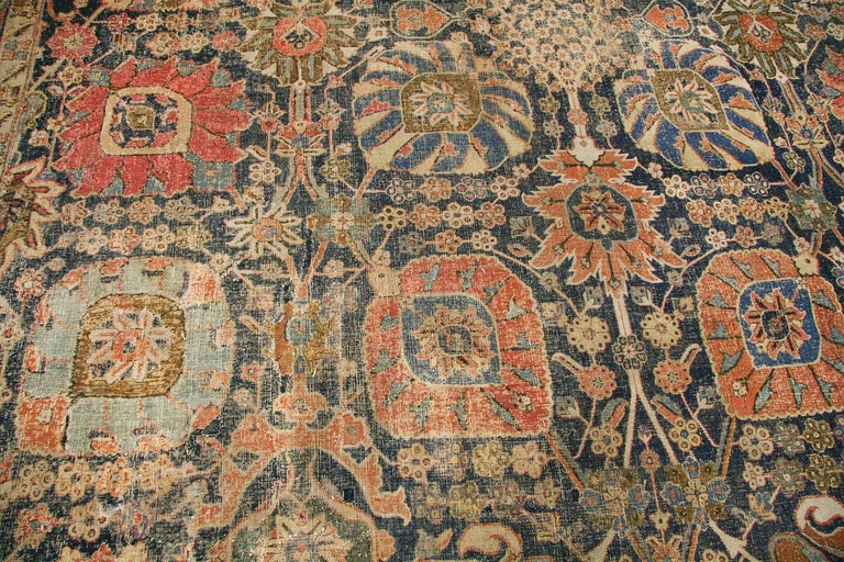 Antique 17th Century Persian Vase Kerman Carpet. Size: 11 ft 5 in x 20 ft 2 in  In Distressed Condition For Sale In New York, NY