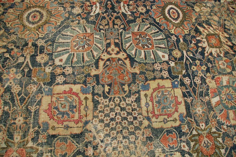 18th Century and Earlier Antique 17th Century Persian Vase Kerman Carpet. Size: 11 ft 5 in x 20 ft 2 in  For Sale