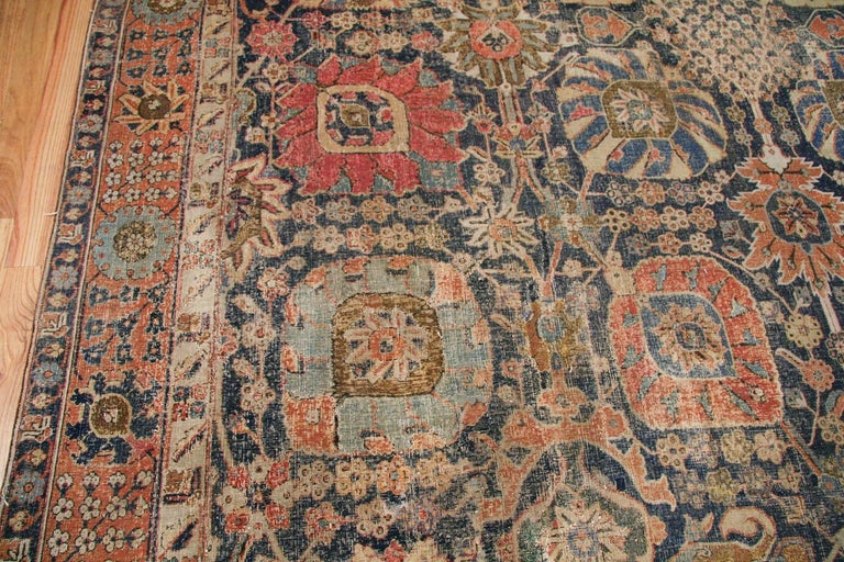 Wool Antique 17th Century Persian Vase Kerman Carpet. Size: 11 ft 5 in x 20 ft 2 in  For Sale