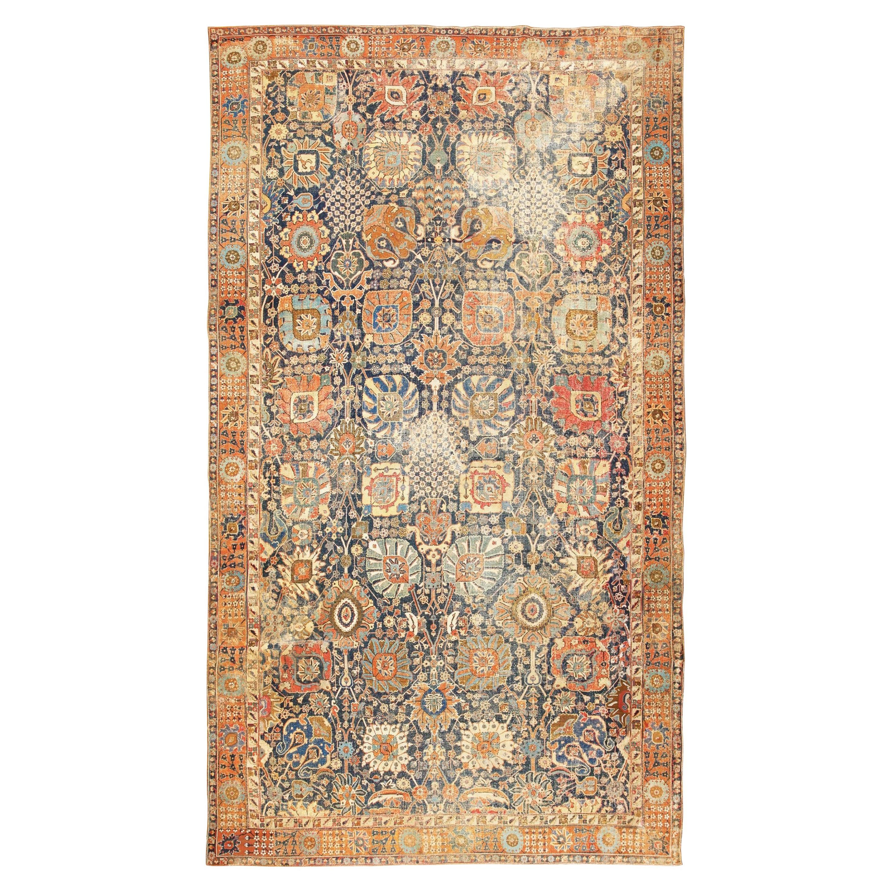 Antique 17th Century Persian Vase Kerman Carpet. Size: 11 ft 5 in x 20 ft 2 in