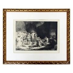 Antique 17th Century Rembrandt van Rijn Christ Preaching Etching Drypoint Framed