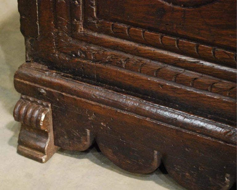 Antique 17th Century Spanish Chestnut Carved Trunk or Chest For Sale 6