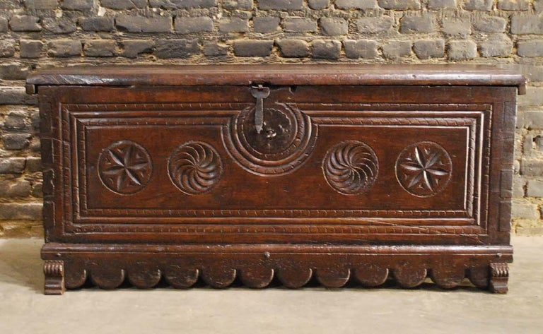 Rustic Antique 17th Century Spanish Chestnut Carved Trunk or Chest For Sale
