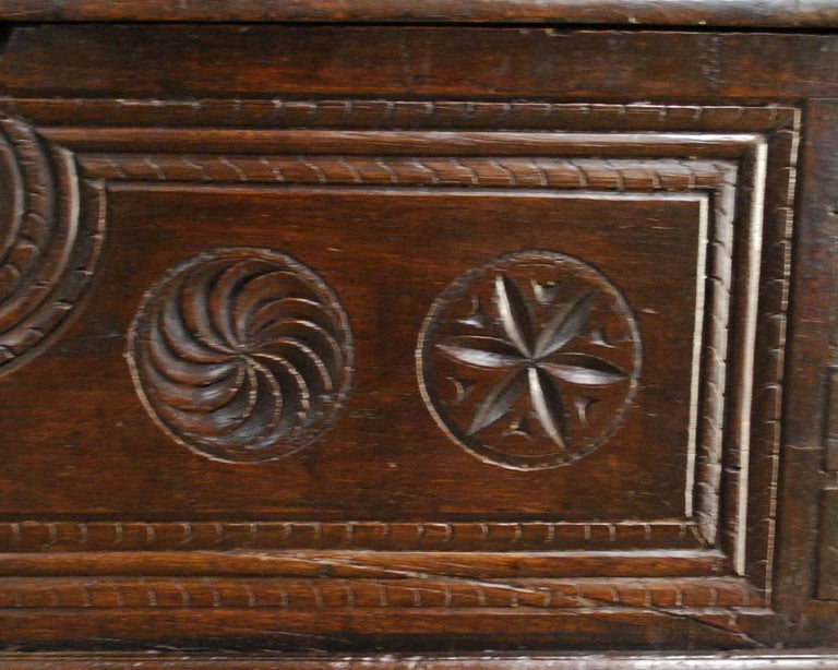 Iron Antique 17th Century Spanish Chestnut Carved Trunk or Chest For Sale