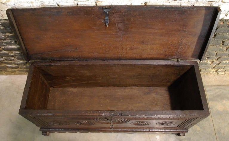 Antique 17th Century Spanish Chestnut Carved Trunk or Chest For Sale 3