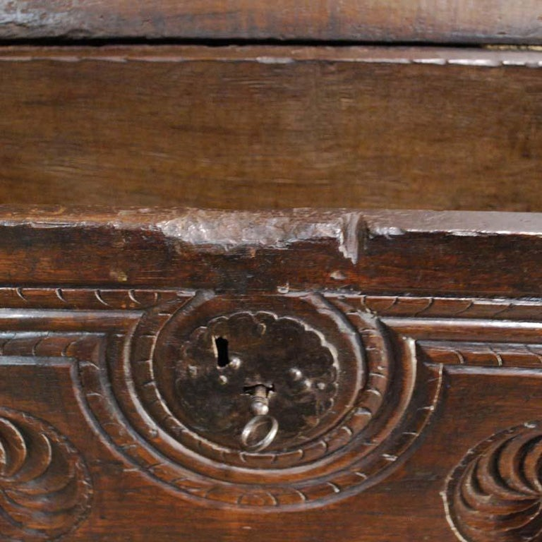 Antique 17th Century Spanish Chestnut Carved Trunk or Chest For Sale 2