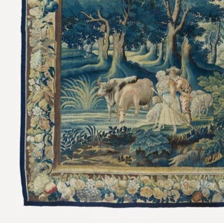 Baroque Antique 17th Century Square Flemish Verdure Landscape Tapestry For Sale