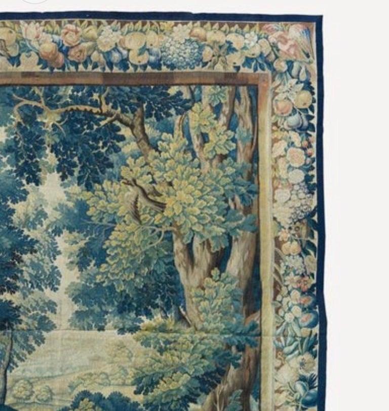 Belgian Antique 17th Century Square Flemish Verdure Landscape Tapestry For Sale