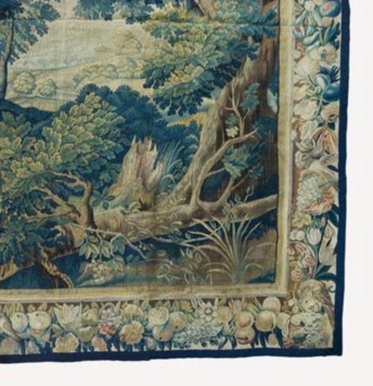 Hand-Woven Antique 17th Century Square Flemish Verdure Landscape Tapestry For Sale