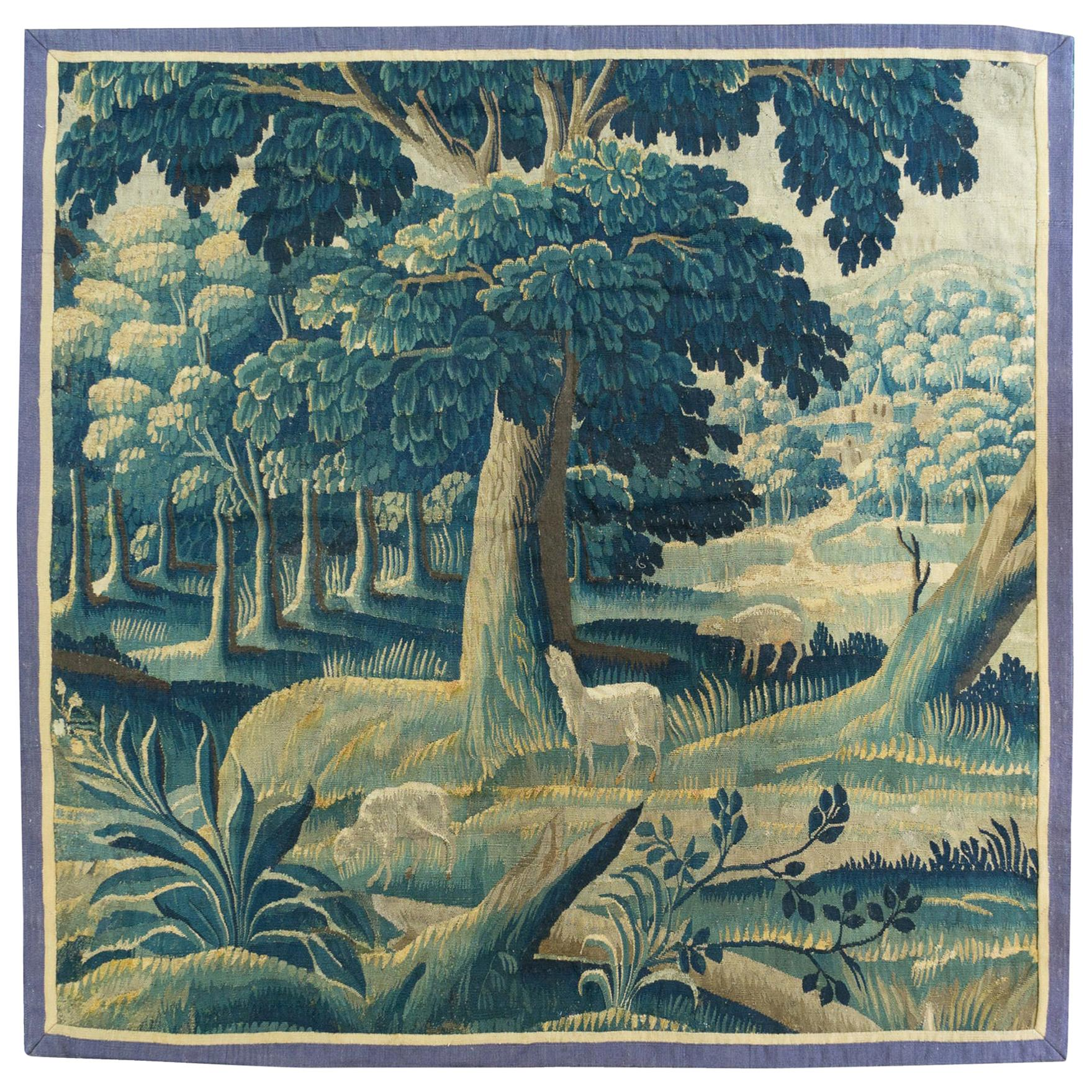Antique Vintage 17th Century Square Green Flemish Verdure Landscape Tapestry
