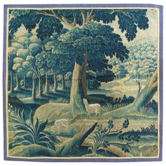 Antique Vintage 17th Century Square Green Flemish Verdure Landscape Tapestry
