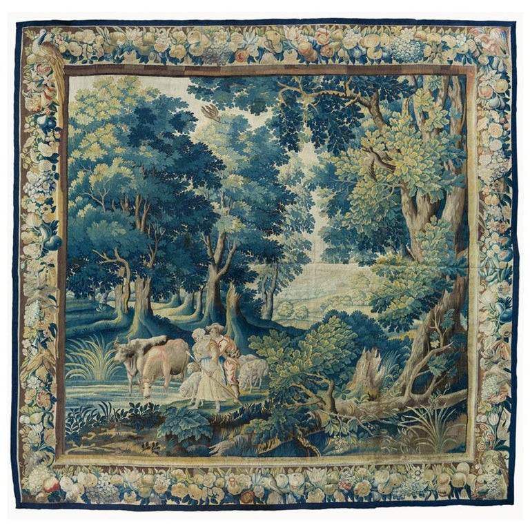 Antique 17th Century Square Flemish Verdure Landscape Tapestry For Sale