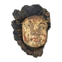 Antique 17th Century Wood Carving Fragment Angel Original Paint