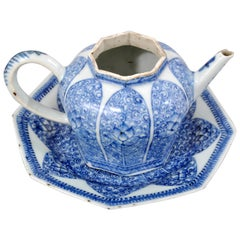 Antique Chinese Kangxi Islamic Style Blue and White Teapot and Stand, circa 1650